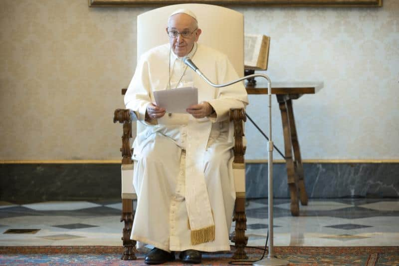 Prayer is a 'fight' with God, pope says at audience