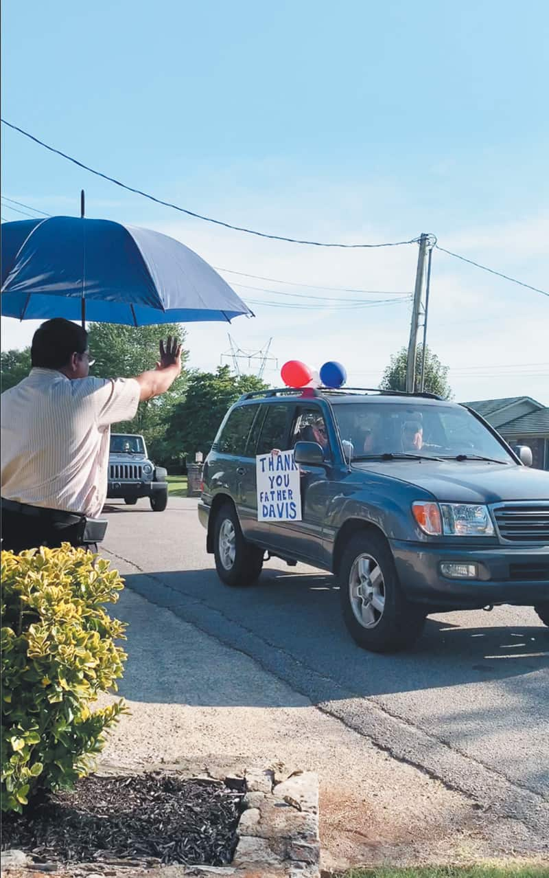 St. Catherine gives departing pastor a goodbye parade