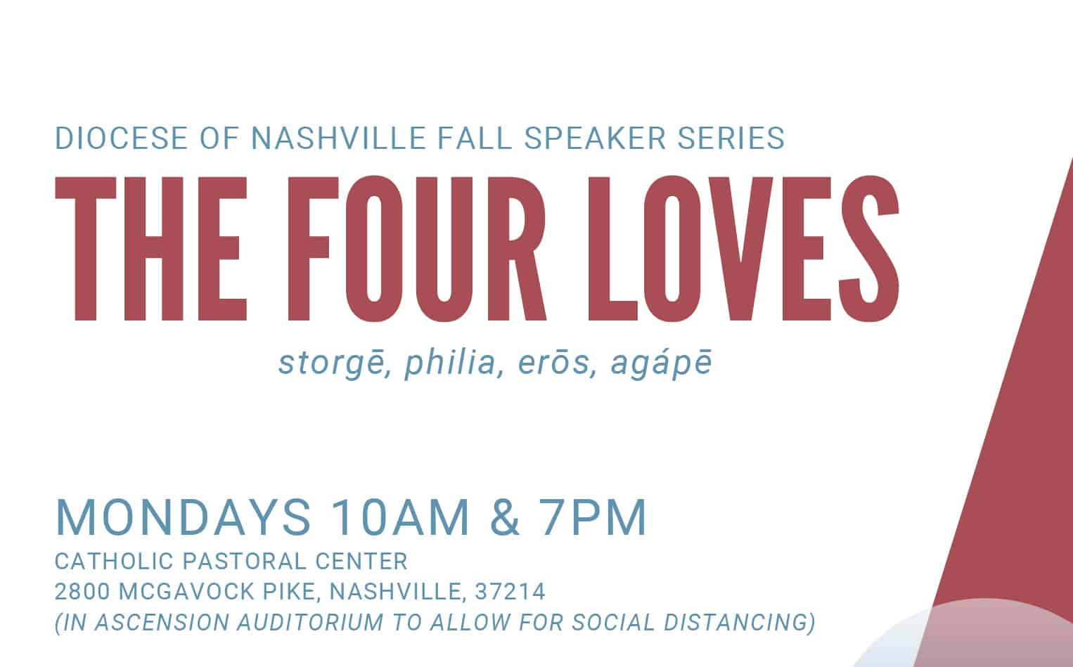 Diocese launches fall speaker series on 'The Four Loves'