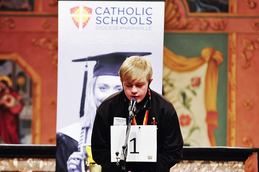 Christ the King seventh grader Andrew Vick wins inaugural Diocesan Regional Spelling Bee